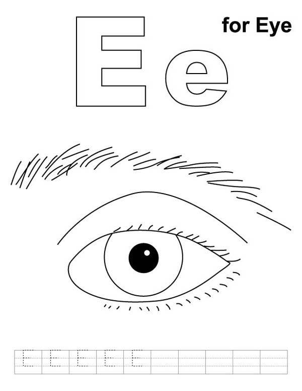 Eyes, : E is for Eyes Coloring Page