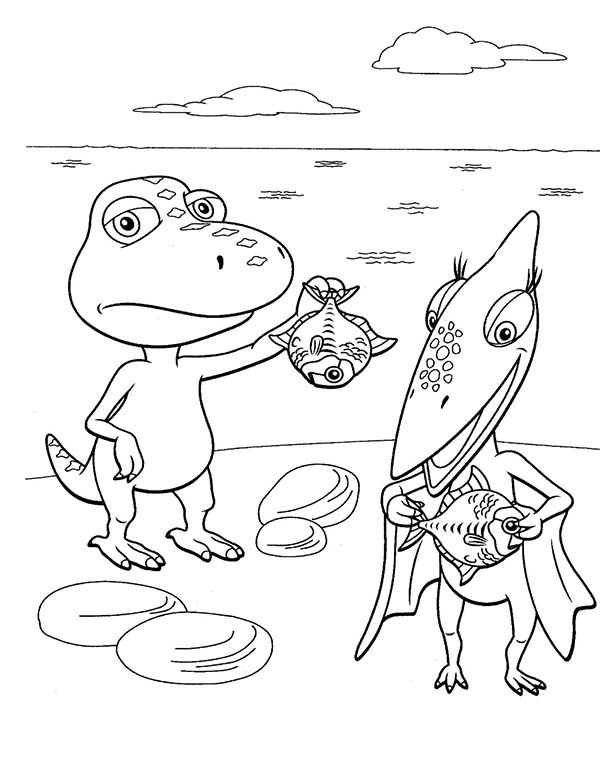 Dinosaurus Train, : Each Tiny and Buddy Had One Fish to Eat in Dinosaurus Train Coloring Page