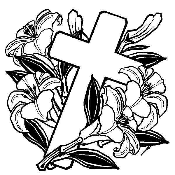 Cross, : Easter Cross Coloring Page