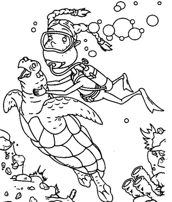 Thornberrys, : Eliza Diving with Sea Turtle in the Thornberrys Coloring Page