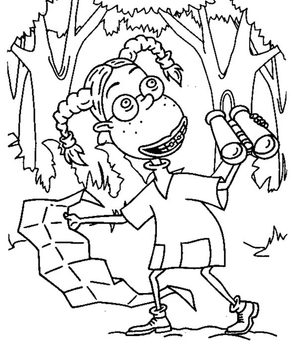 Thornberrys, : Eliza Exploring Jungle with Map in the Thornberrys Coloring Page