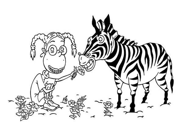 Thornberrys, : Eliza Feeding a Zebra in the Thornberrys Coloring Page