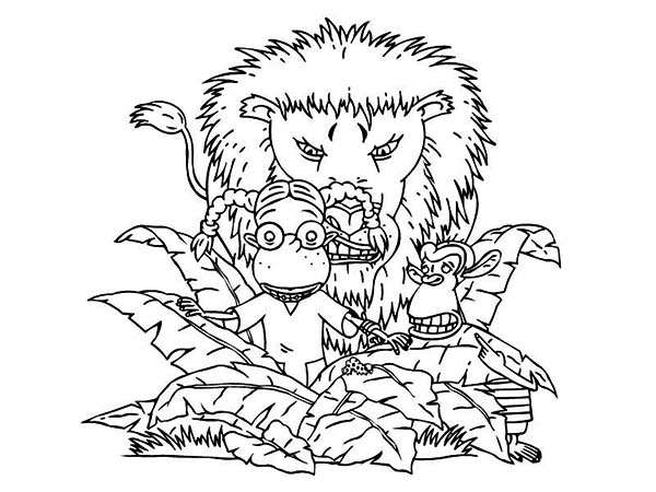 Thornberrys, : Eliza and Darwin Being Target of a Lion in the Thornberrys Coloring Page