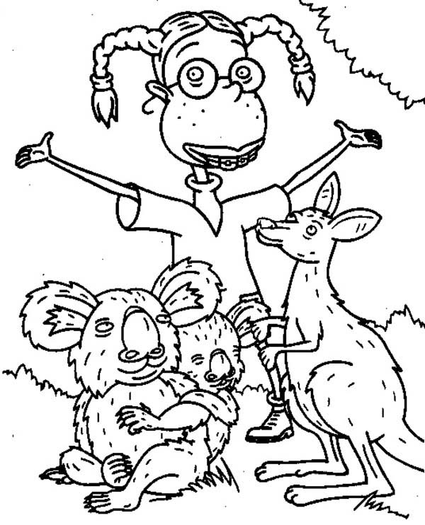 Thornberrys, : Eliza with Kangaroo and Koala in the Thornberrys Coloring Page