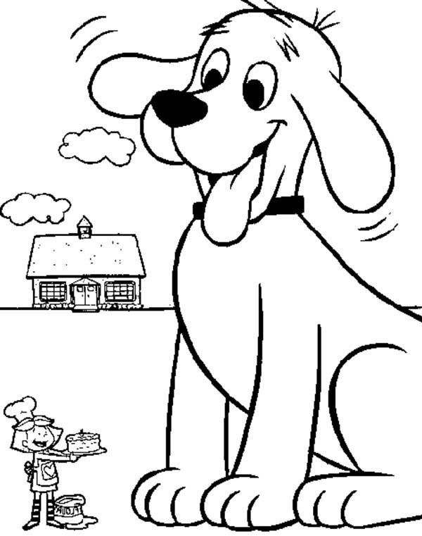 Clifford the Big Red Dog, : Emily Cooking a Cake for Clifford the Big Red Dog Coloring Page