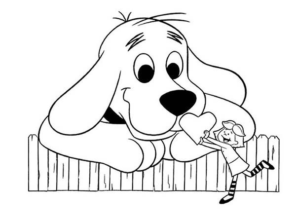 Clifford the Big Red Dog, : Emily Give Clifford the Big Red Dog Big Heart Coloring Page