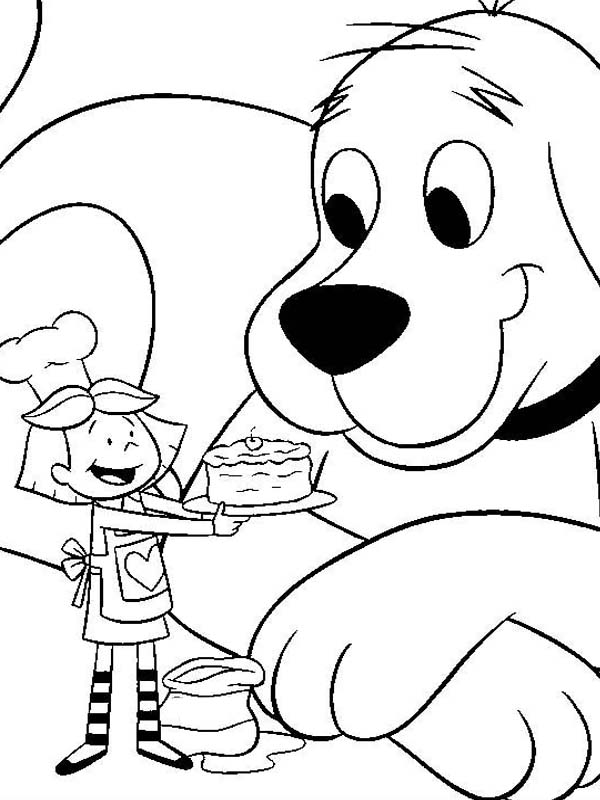Clifford the Big Red Dog, : Emily Give Clifford the Big Red Dog a Birthday Cake Coloring Page