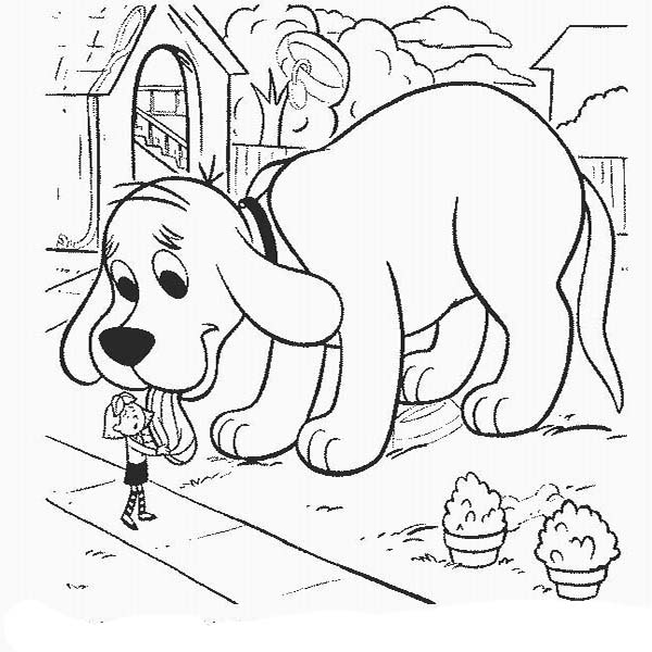 Clifford the Big Red Dog, : Emily Licked by Clifford the Big Red Dog Coloring Page
