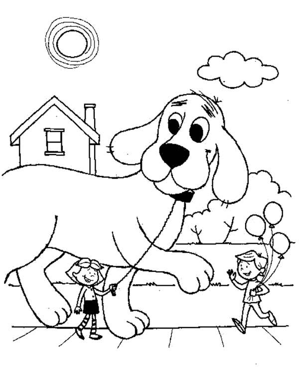 Clifford the Big Red Dog, : Emily Take Clifford the Big Red Dog Outside Coloring Page