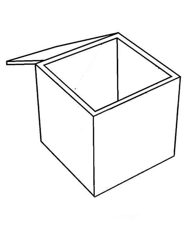 Box, : Empty Box Coloring Page