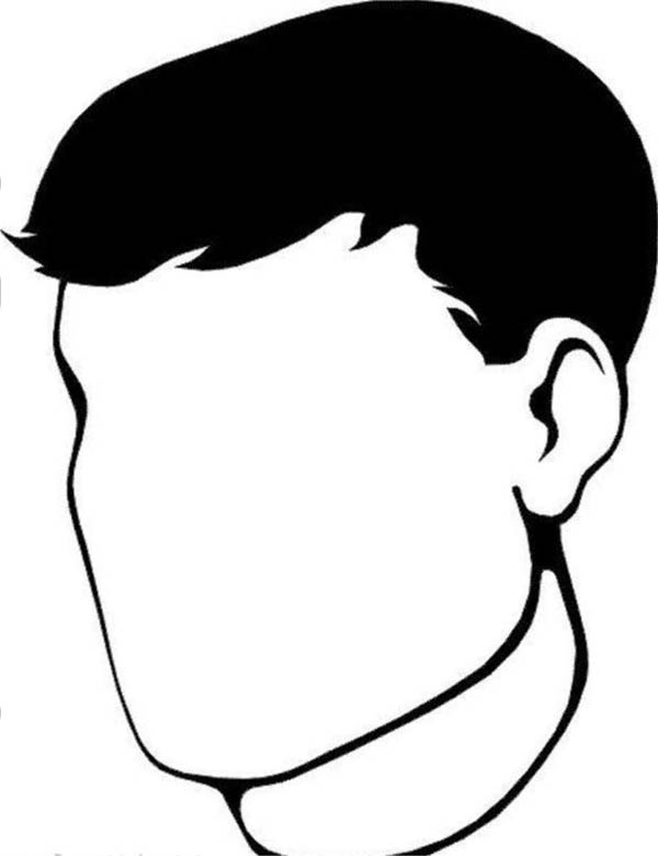 Face, : Empty Man Face Coloring Page