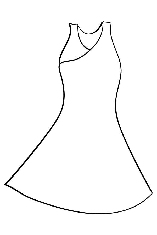 Dress, : Evening Dress Coloring Page