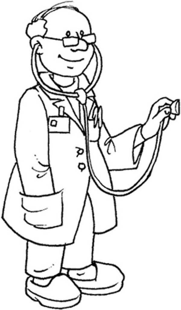 Doctor, : Expert Doctor and His Stethoscope Coloring Page