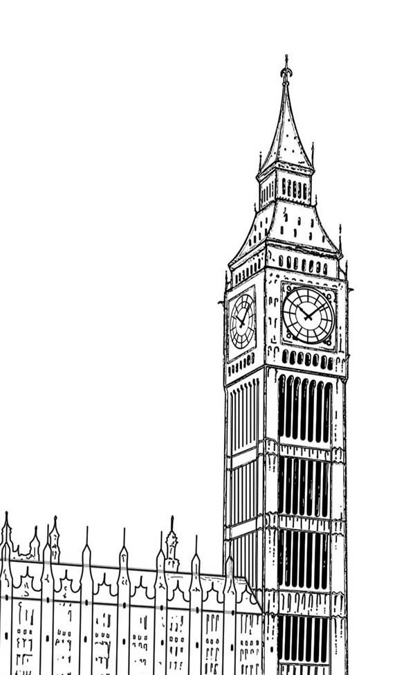 Big Ben, : Famous Tourism Destination Big Ben Coloring Page