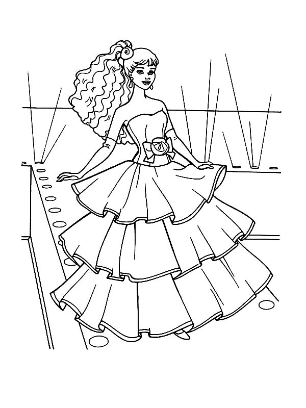 Barbie Doll, : Fashion Show Barbie Doll Coloring Page