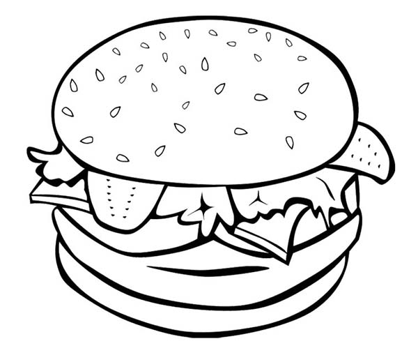 Breakfast, : Fast Food Burger for Breakfast Coloring Page
