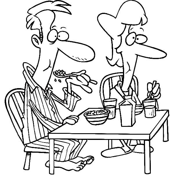 Breakfast, : Father and Mother Eating Their Breakfast Coloring Page