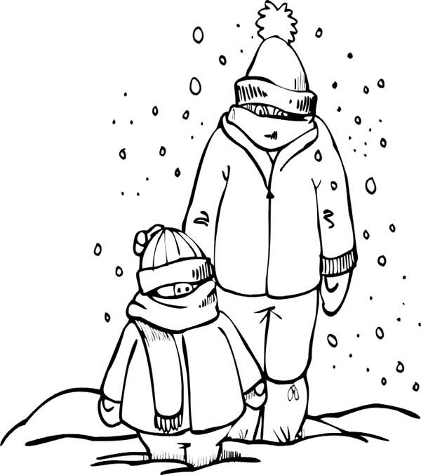 Winter Clothing, : Father and Son Wearing Winter Clothing Coloring Page