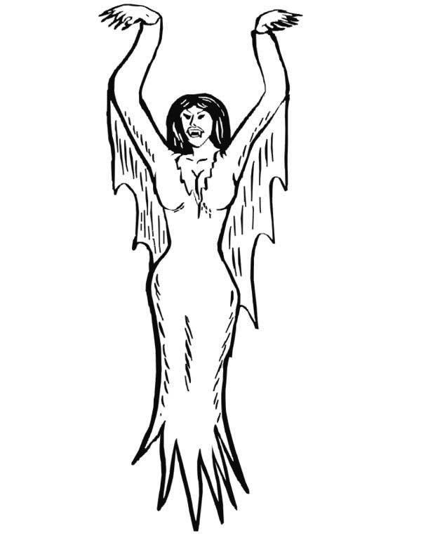 Vampire, : Female Vampire Coloring Page