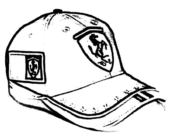 Baseball Cap, : Ferrari Baseball Cap Coloring Page