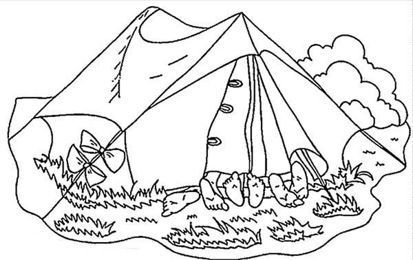Camping, : Few Kids Sleeping in Camping Tent Coloring Page