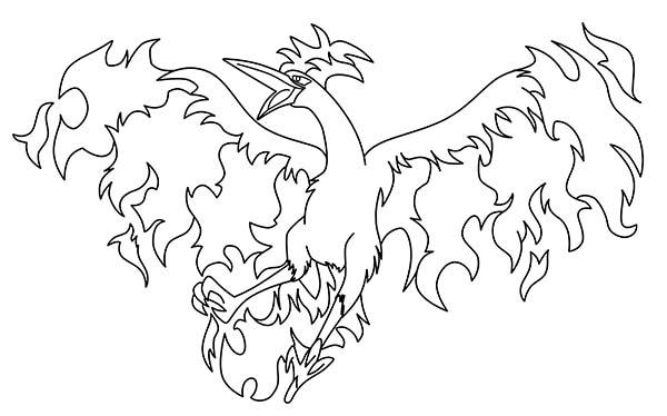 Articuno, : Fire Articuno Bird Coloring Page