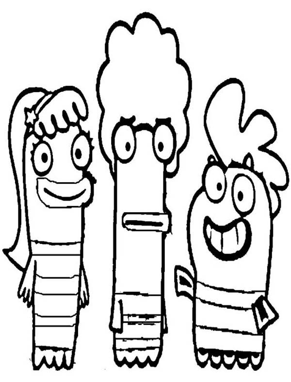 Fish Hooks, : Fish Hooks Characters Smiling Coloring Page
