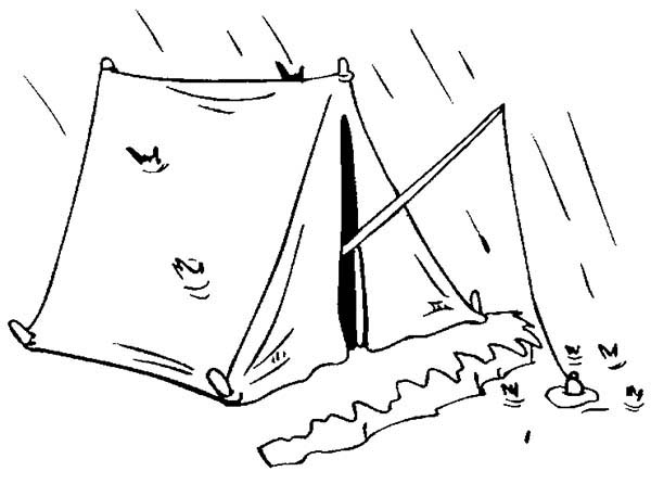 Camping, : Fishing from Camping Tent Coloring Page