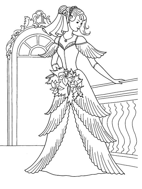 Wedding, : Fitting Wedding Dress Coloring Page