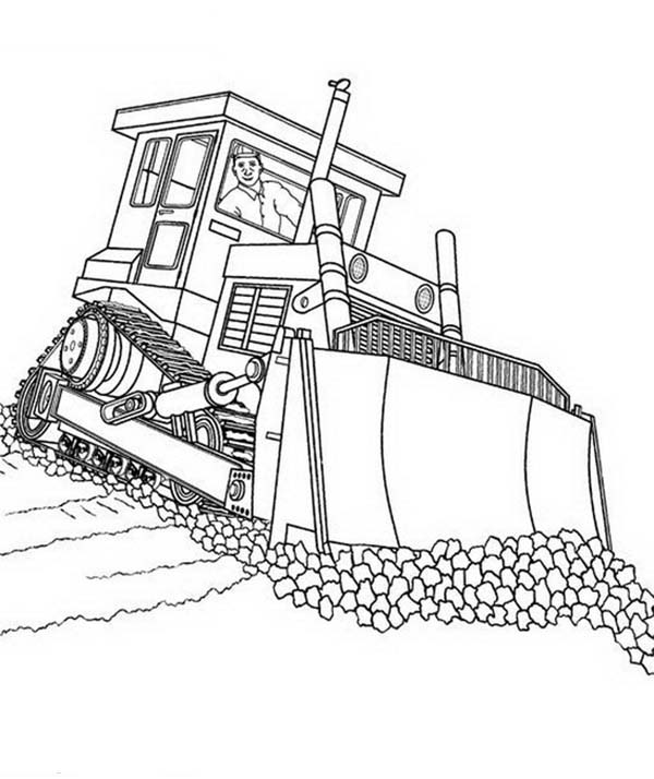 Bulldozer, : Fixing Road with Bulldozer Coloring Page