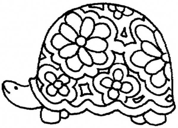 Turtle, : Floral Shell Turtle Coloring Page