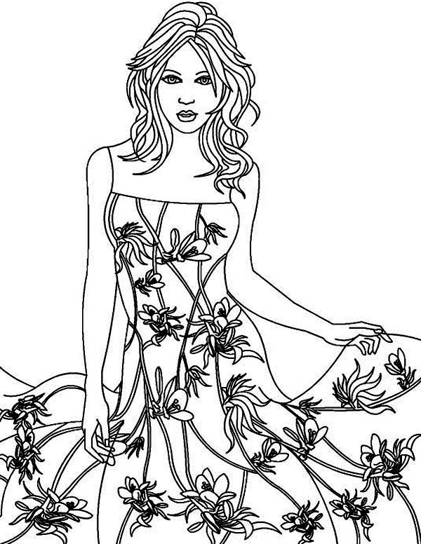 Dress, : Floral Textured Dress Coloring Page