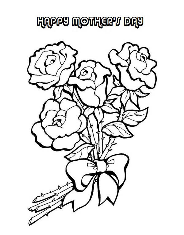 Mothers Day, : Flower Arrangement for Mom on Mothers Day Coloring Page