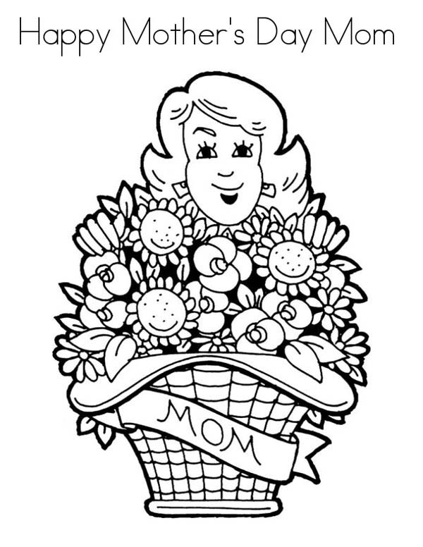 Mothers Day, : Flower Bouquet for Mommy on Mothers Day Coloring Page