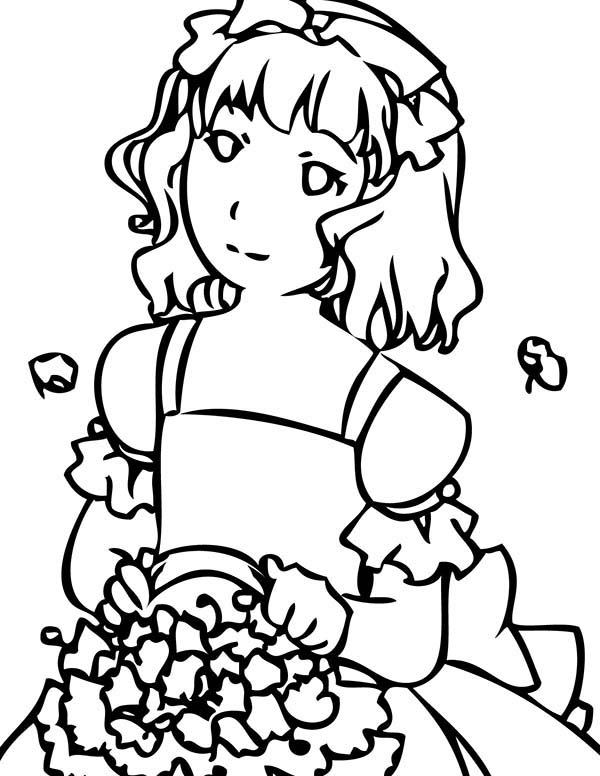 Wedding, : Flower Girl Maid in Honor on Wedding Reception Coloring Page 2