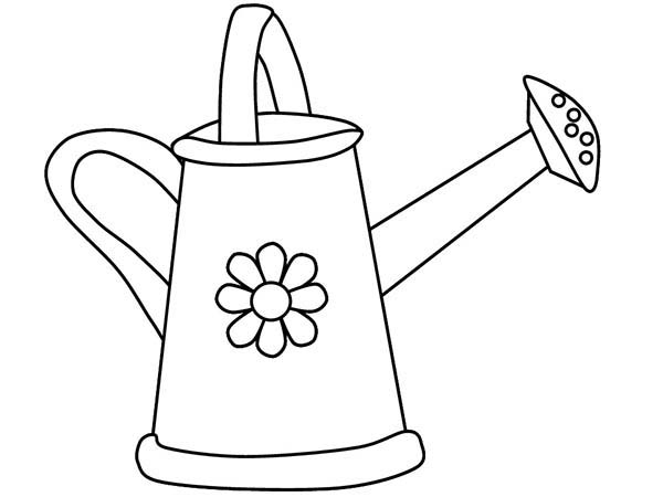 Watering Can, : Flowered Watering Can Coloring Page