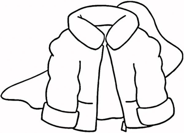 Winter Clothing, : Fluffy Jacket in Winter Clothing Coloring Page
