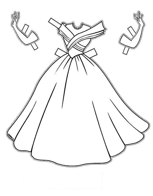 Dress, : Formal Occasion Dress and Accessories Coloring Page