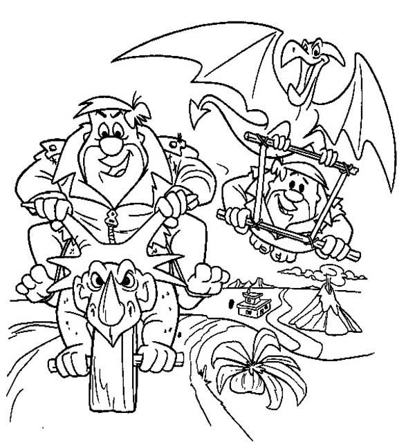 The Flintstones, : Fred and Barney Road Race in the Flintstones Coloring Page