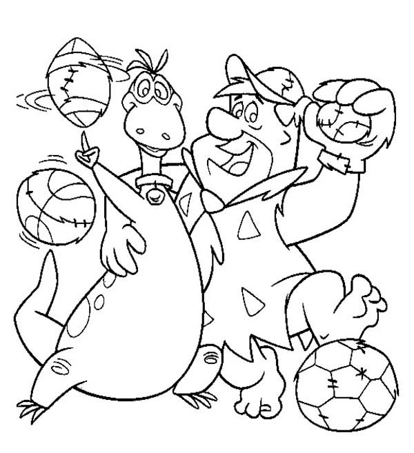 The Flintstones, : Fred and Dino Love Sports in the Flintstones Coloring Page