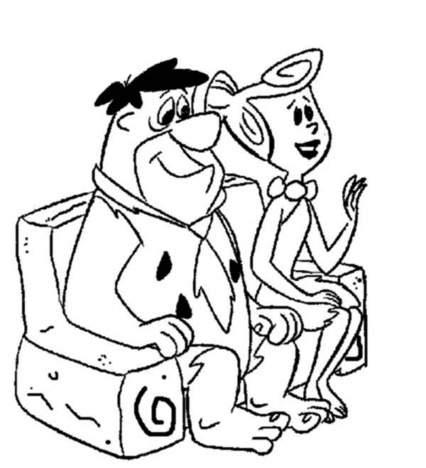The Flintstones, : Fred and Wilma Sitting on the Couch in the Flintstones Coloring Page