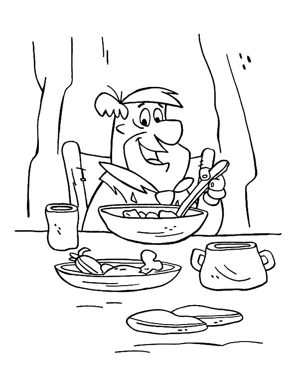 Breakfast, : Freds Flintstones Having Breakfast Coloring Page
