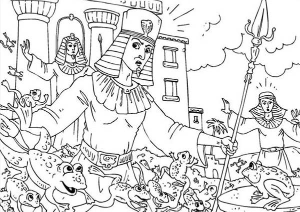10 Plagues of Egypt, : Frogs Invade Egypt in 10 Plagues of Egypt Coloring Page