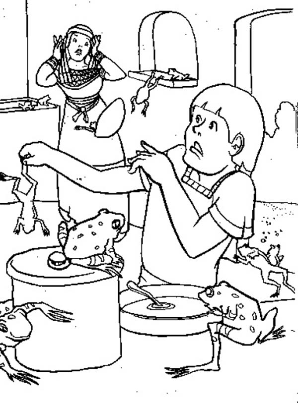 10 Plagues of Egypt, : Frogs is All Over the Place in 10 Plagues of Egypt Coloring Page
