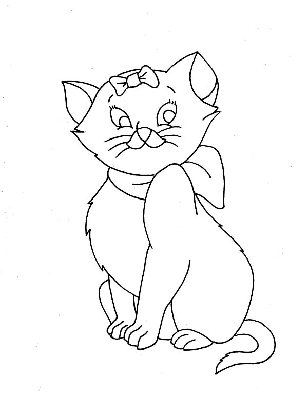 Cat, : Funny Cat Wear Ribbon Coloring Page