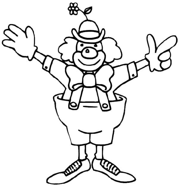 Circus, : Funny Circus Clown Coloring Page