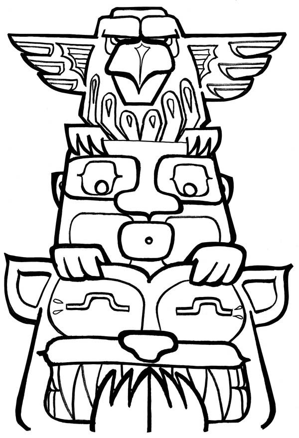 Native American Day, : Funny Native American Totem on Native American Day Coloring Page