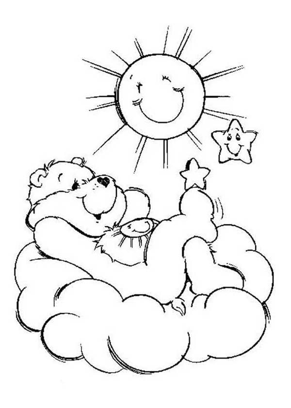 Care Bear, : Funshine Bear Relaxing in Care Bear Coloring Page