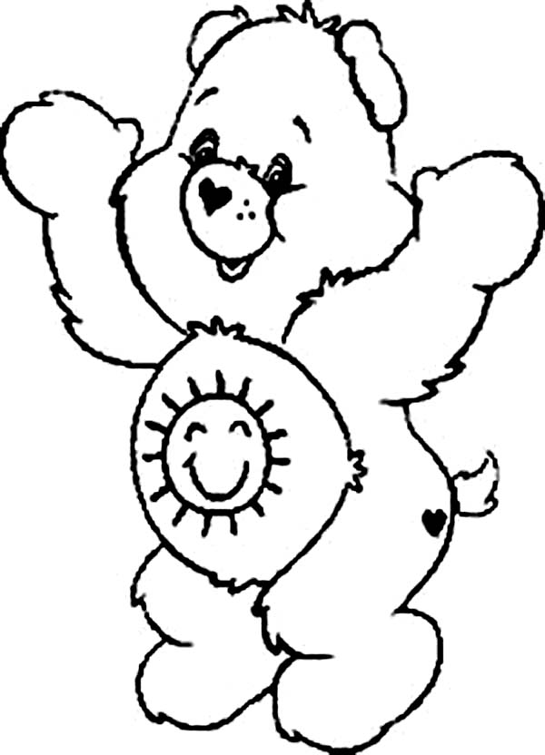 Care Bear, : Funshine Bear is so Happy in Care Bear Coloring Page