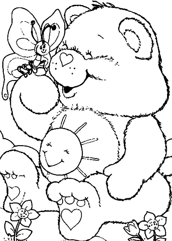 Care Bear, : Funshine Bear with a Butterfly in Care Bear Coloring Page